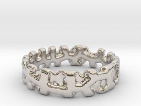 Voronoi 1 Design Ring Ø 19 mm/Ø 0.748 inch in Rhodium Plated Brass