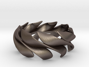 Sunwaves Handmade Ring / Bronze Brass or Silver Ri in Polished Bronzed Silver Steel