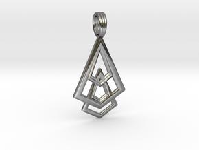 DELTOHEDRON 2D in Fine Detail Polished Silver