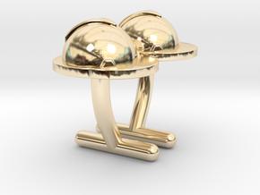 Hard Hat Cufflinks #2 in 14k Gold Plated Brass
