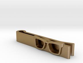Hipster Glasses Tie-Clip Origin in Polished Gold Steel