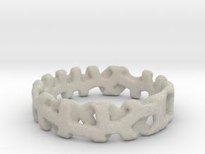 Voronoi 1 Design Ring Ø 20.2 Mm/0.797inch in Natural Sandstone
