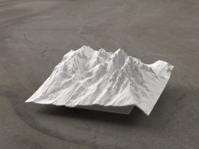 4'' Grand Tetons Terrain Model, Wyoming, USA in White Strong & Flexible