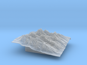 3'' Grand Tetons Terrain Model, Wyoming, USA in Smooth Fine Detail Plastic
