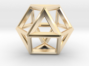VECTOR EQUILIBRIUM FRAME in 14k Gold Plated Brass
