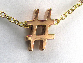 Hashtag Necklace Pendant in 14k Rose Gold Plated