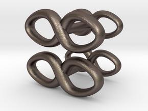 Cufflinks Infinity Symbol 2x in Polished Bronzed Silver Steel