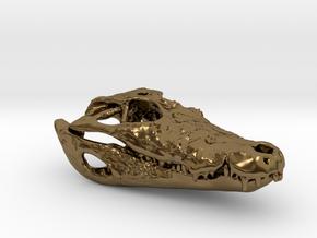 Alligator skull pendant: 50mm with loop in Polished Bronze