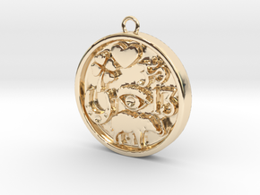 Good Luck Round Pendant in 14K Yellow Gold