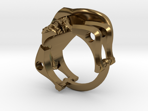 Silver Cowboy Skull Ring in Polished Bronze