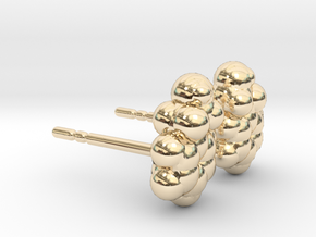 Phenylethanol Earring Studs in 14K Yellow Gold