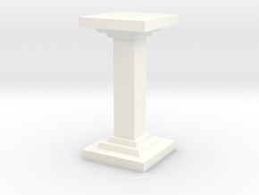 Square Pillar in White Processed Versatile Plastic
