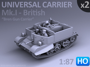 Universal Carrier Mk.I - (1:87 HO) - (2 Pack) in Smooth Fine Detail Plastic