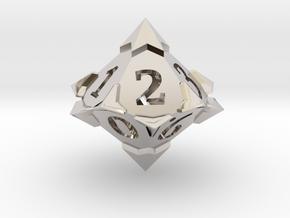 'Starry' D10 SPINDOWN balanced Die  in Rhodium Plated Brass