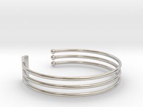 Tripple Bracelet Ø 63 Mm/2.48 inch R Medium in Rhodium Plated Brass