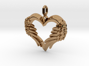 Winged Heart Pendant in Polished Brass