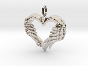 Winged Heart Pendant in Rhodium Plated Brass