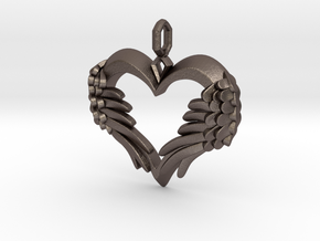 Winged Heart Pendant in Polished Bronzed Silver Steel