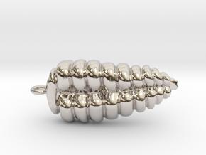 Rattlesnake Rattle Pendant/Earring in Rhodium Plated Brass