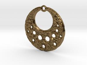 Fractal Pendant Crescent Moon in Polished Bronze
