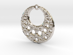 Fractal Pendant Crescent Moon in Rhodium Plated Brass