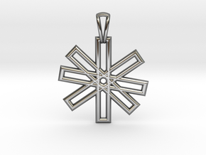 Sacred Geometry Pendant (Small) in Fine Detail Polished Silver