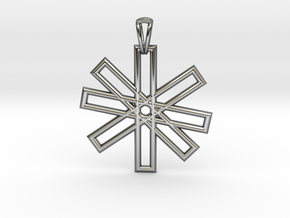 Sacred Geometry Pendant (Big) in Fine Detail Polished Silver