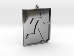 Emergency Exit Pendant in Fine Detail Polished Silver