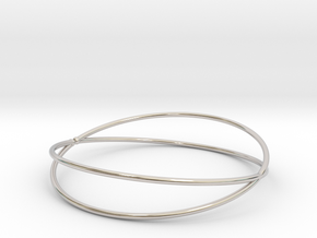 Space Bracelet Ø53 mm/Ø2.086 inch XS in Rhodium Plated Brass