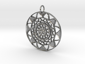 Sun Mandala pendant in Natural Silver