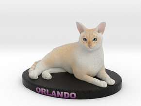 Custom Cat Figurine - Orlando in Full Color Sandstone