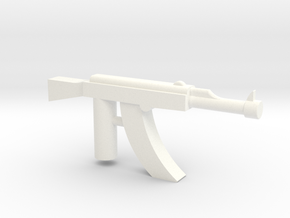 Ak-47 Minifigure Gun 1.3 in White Strong & Flexible Polished