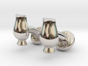 Cufflinks Glencairn Whiskyglass in Rhodium Plated Brass