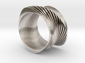 Experimental SLICE Bracelet 7.5 cm wide in Rhodium Plated Brass
