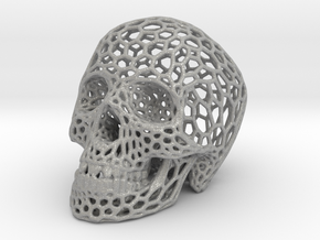 Human skull skeleton perforated sculpture in Aluminum