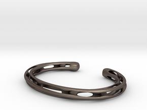 Heavy Möbius bracelet in Polished Bronzed Silver Steel
