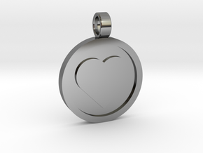 "Personalized Heart Pendant - Say ""I Love You""  in Fine Detail Polished Silver"