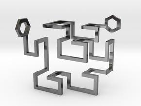 Gosper Pendant 3D in Fine Detail Polished Silver
