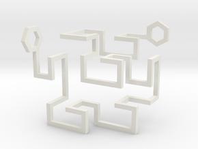 Gosper Pendant 3D in White Natural Versatile Plastic