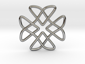 Two Doves Celtic Knot Pendant in Polished Silver