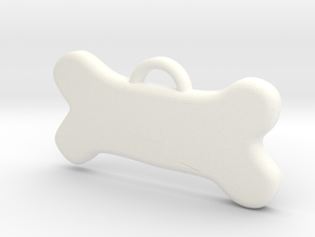 Bone Tag For Dog Customizable in White Processed Versatile Plastic