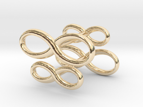 Cufflinks Infinity  Symbol 2x in 14k Gold Plated Brass