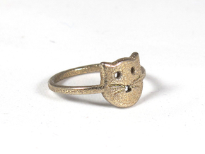 Meow Ring (Size 8) in Polished Bronzed Silver Steel