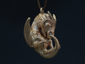 Metal Baby Dragon Pendant in Raw Bronze
