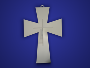 The Cross in Rhodium Plated Brass