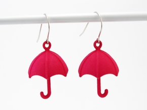 Umbrella Earrings in Pink Processed Versatile Plastic