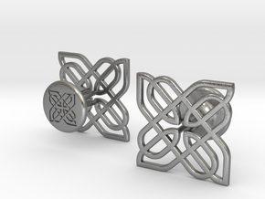 CELTIC KNOT CUFFLINKS 021216 in Natural Silver