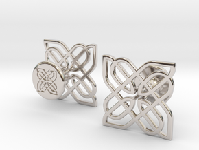 CELTIC KNOT CUFFLINKS 021216 in Rhodium Plated Brass
