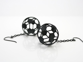 Soccer Ball Earrings - Hollow in Black Natural Versatile Plastic