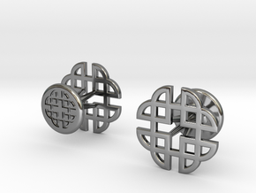 CELTIC KNOT CUFFLINKS 021316 in Fine Detail Polished Silver